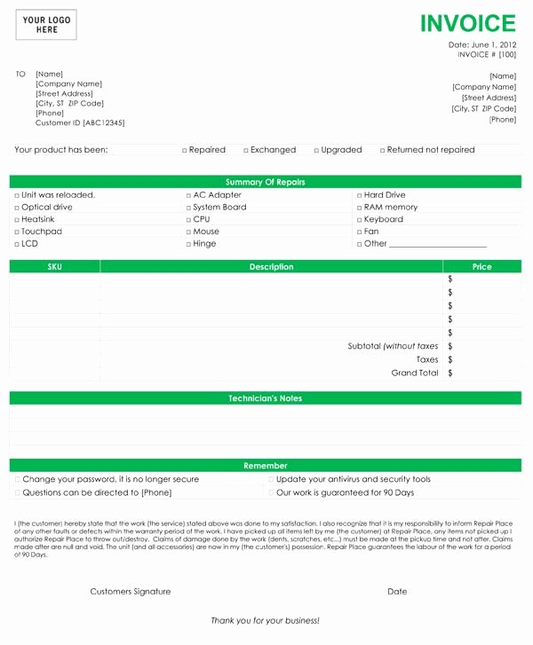 Computer Repair Work order Template Luxury Puter Repair Invoice Template