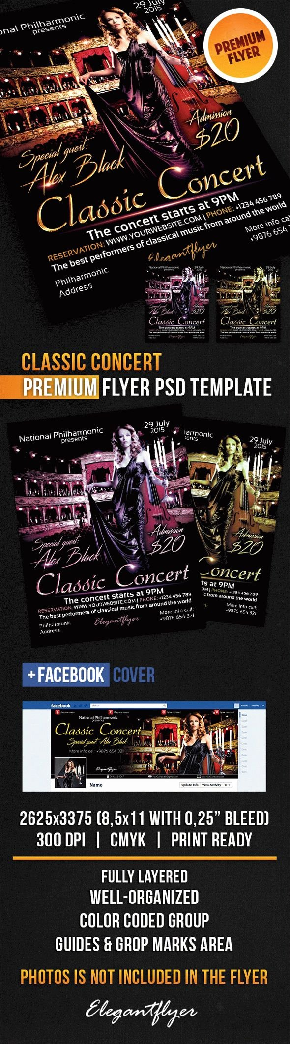 Concert Flyer Template Psd Beautiful Classic Music Concert Flyer – by Elegantflyer