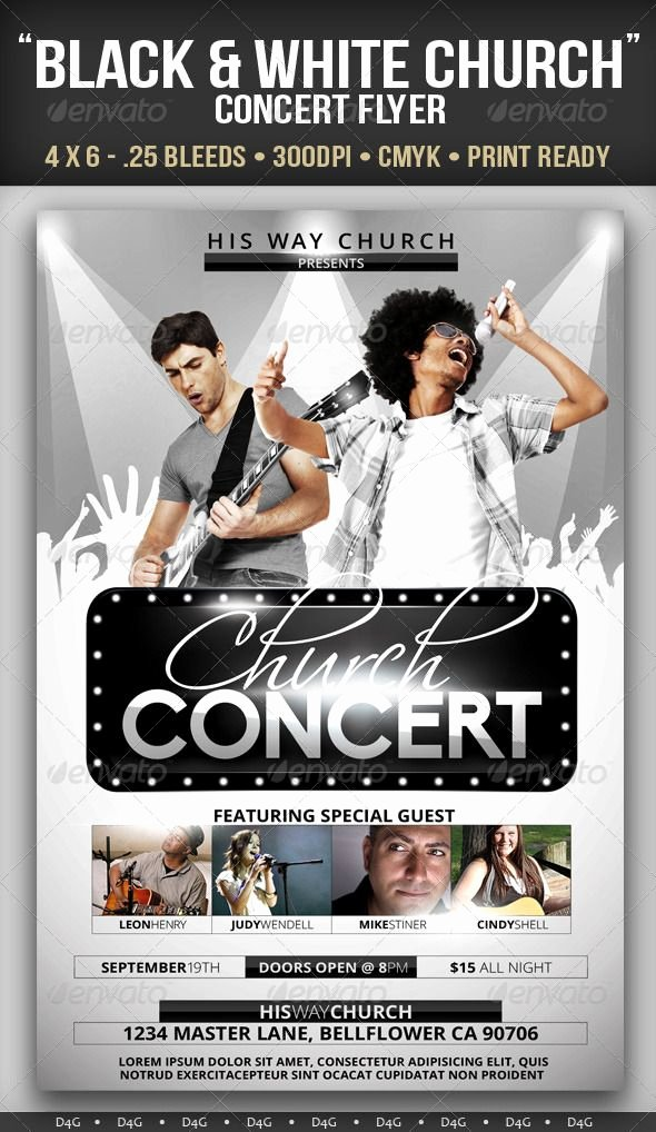 Concert Flyer Template Psd Best Of Black & White Church Concert Flyer — Shop Psd Black