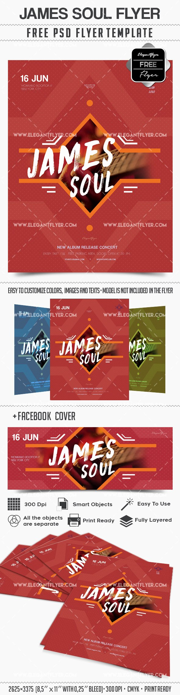 Concert Flyer Template Psd Best Of James soul Concert – Flyer Psd Template – by Elegantflyer