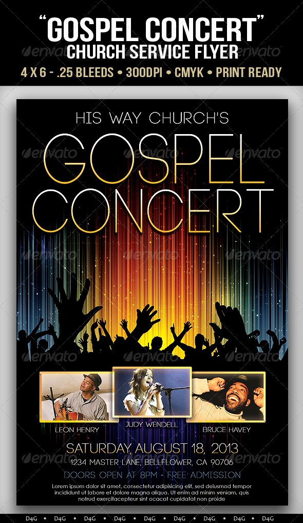 Concert Flyer Template Psd Fresh Gospel Concert Lights Flyer Template On Behance