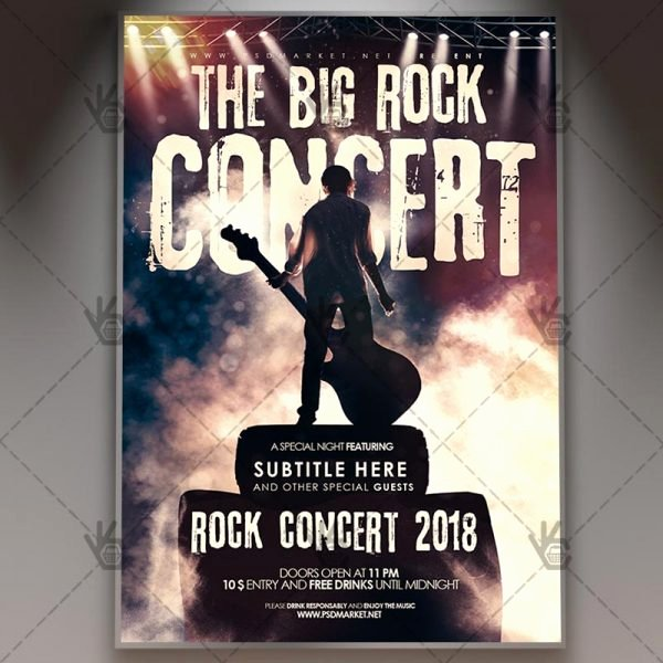 Concert Flyer Template Psd Lovely the Big Rock Concert Club Flyer Psd Template