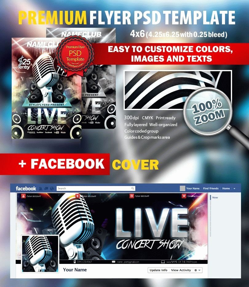 Concert Flyer Template Psd Unique Live Concert Show Psd Flyer Template 7914 Styleflyers