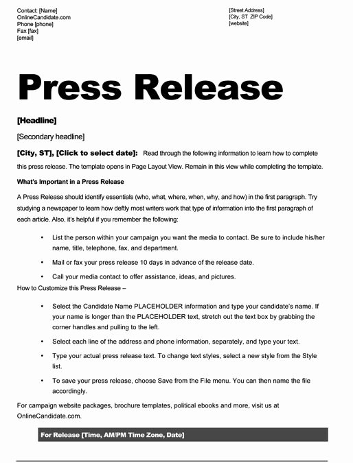 Concert Press Release Template Awesome School Board Campaign Press Release Template Slate Blue