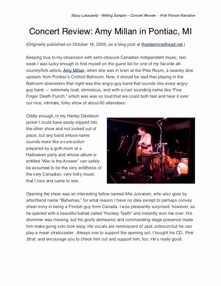 Concert Press Release Template Elegant Music Concert Critique Essay