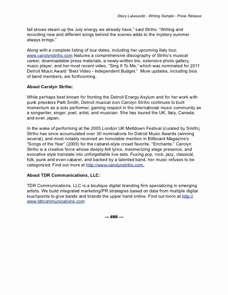 Concert Press Release Template Luxury Writing Sample Musician Press Release