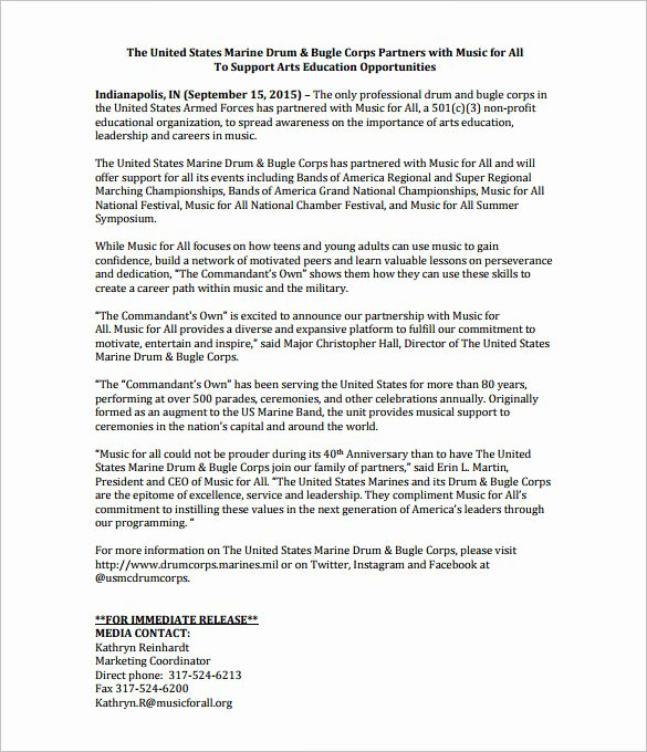 Concert Press Release Template New 28 Press Release Template Word Excel Pdf