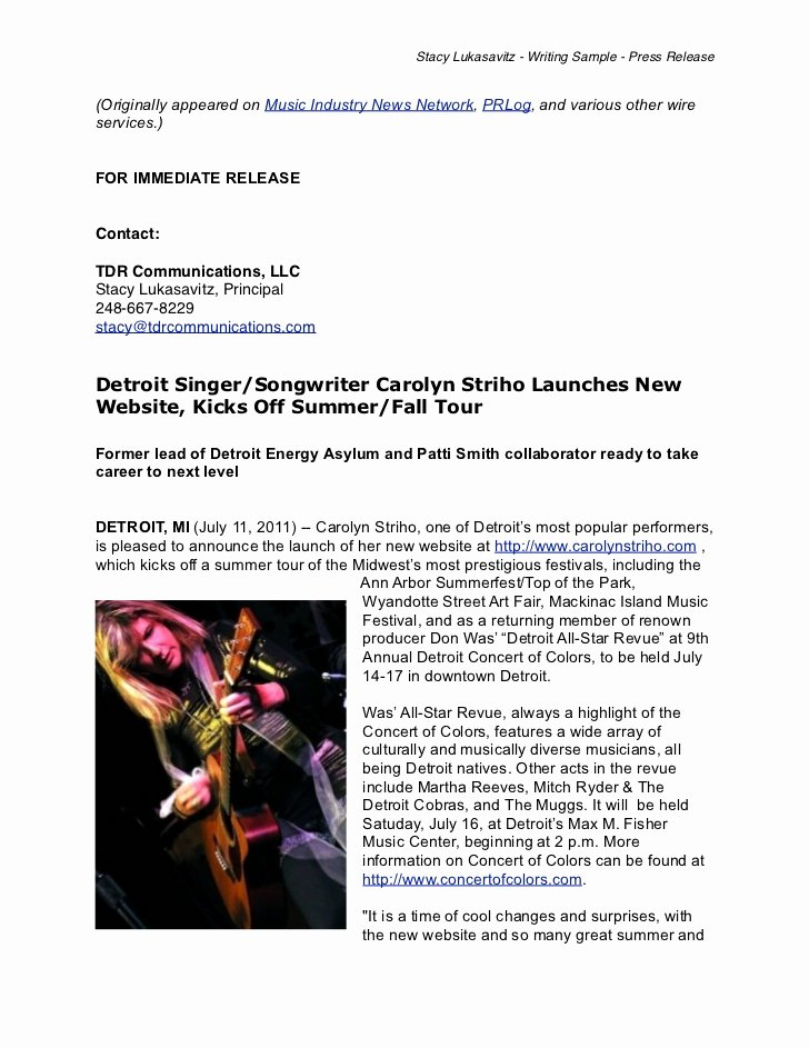 Concert Press Release Template New Writing Sample Musician Press Release