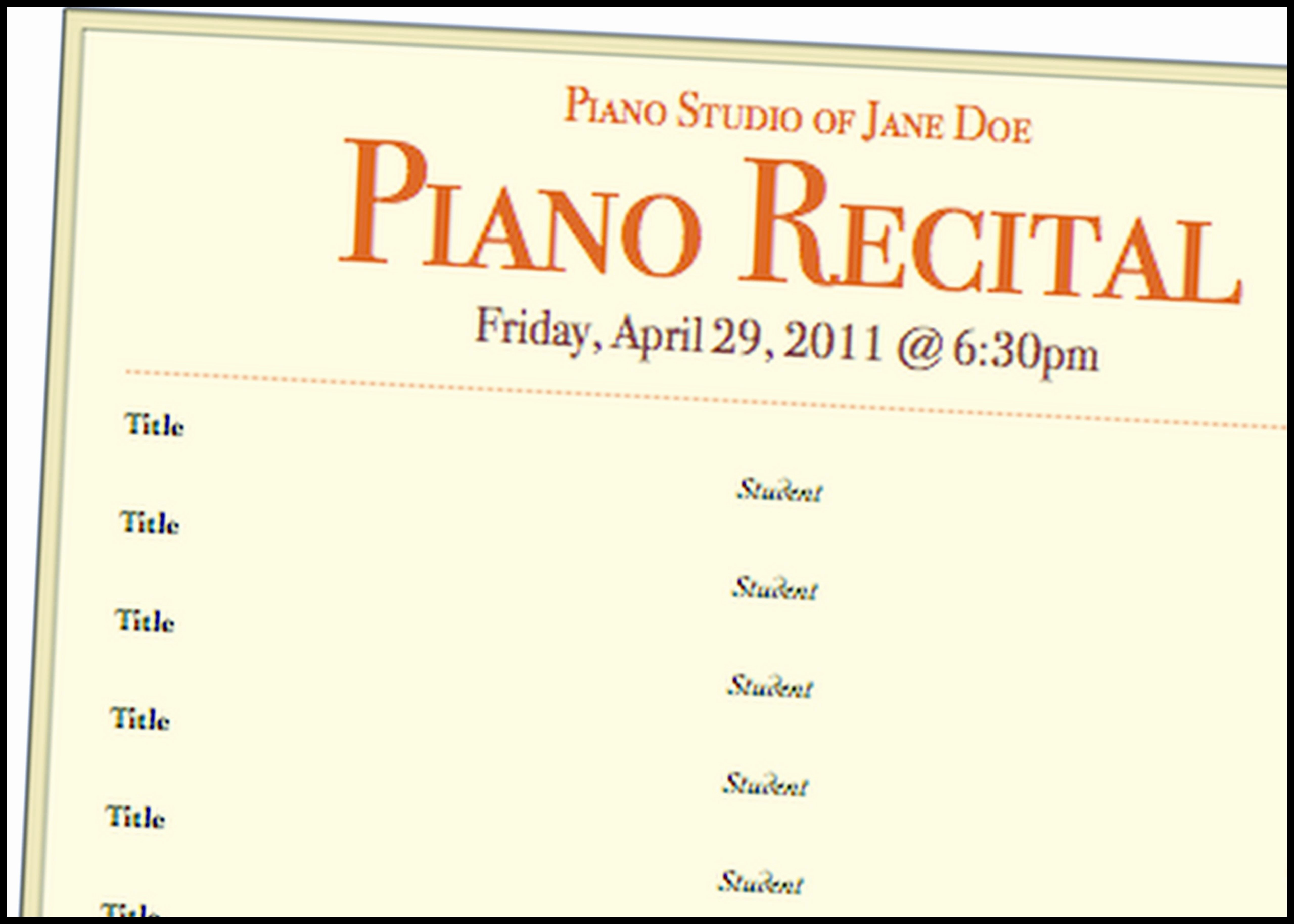 Concert Program Template Free Beautiful A Basic Piano Recital Program Template for Free Music