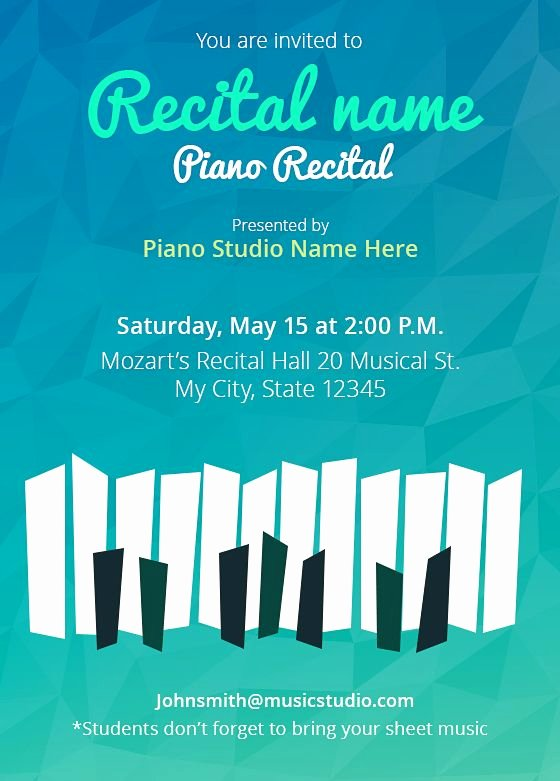 Concert Program Template Free Best Of Customize Your Own Recital Invitations 5 Templates Free