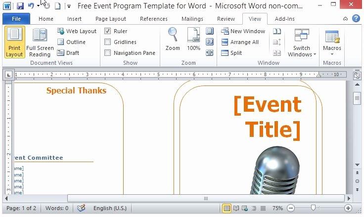 Concert Program Template Free Elegant Free event Program Template for Word