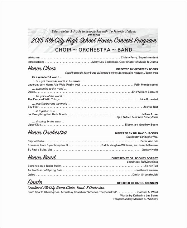Concert Program Template Free Fresh 9 Sample Concert Programs – Pdf Psd Word Illustrator