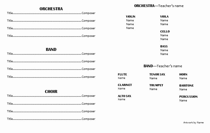 Concert Program Template Free Fresh Concert Program Template