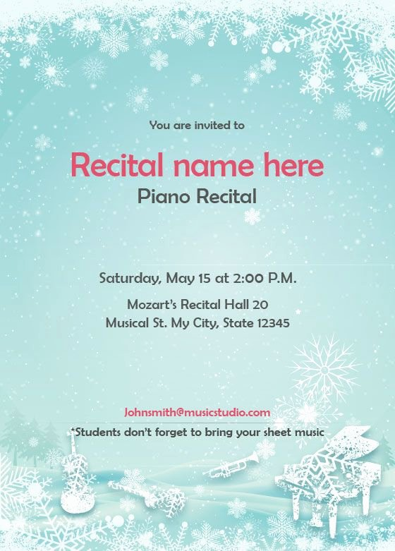 Concert Program Template Free Fresh Winter theme Recital Invitation