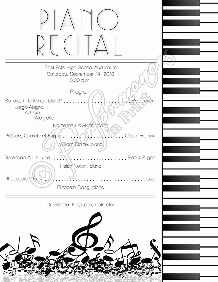 Concert Program Template Free Inspirational top 25 Ideas About Piano Recital On Pinterest
