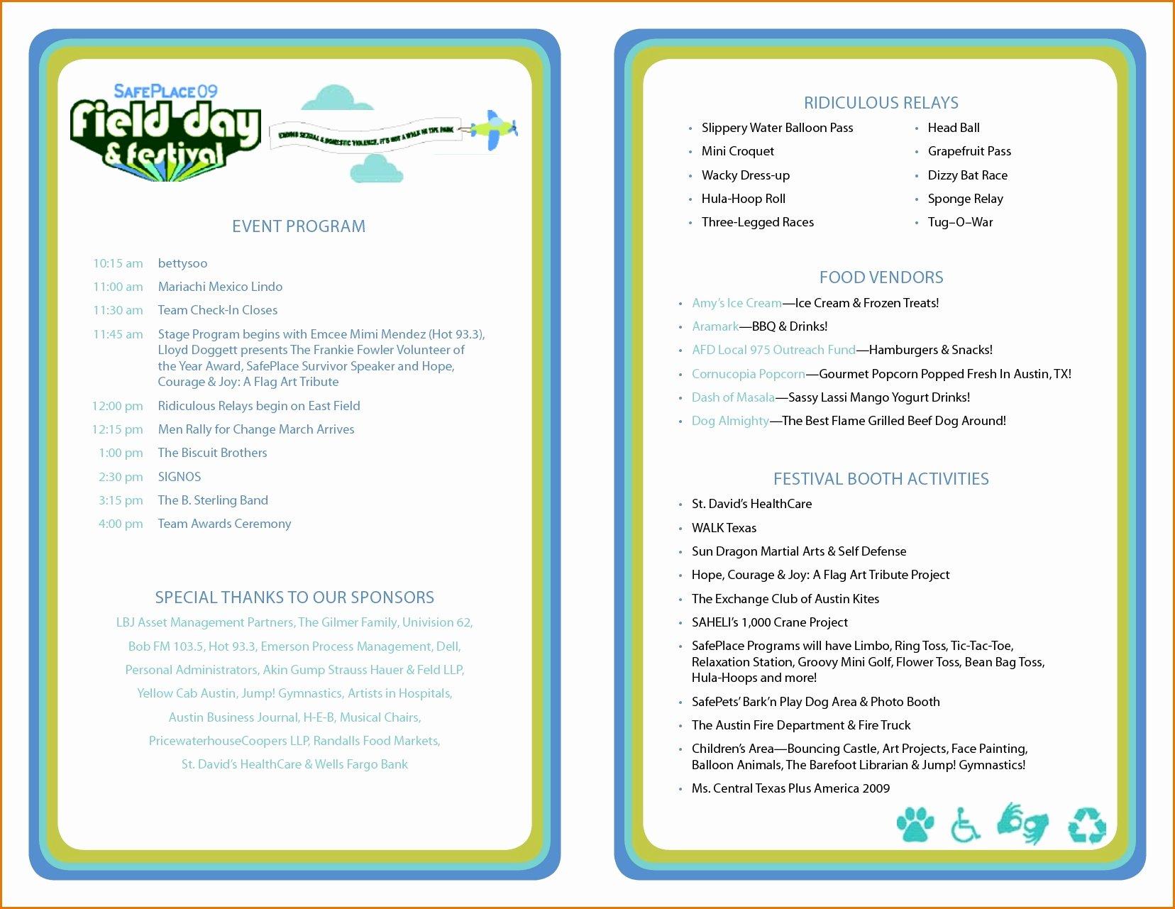Concert Program Template Free Lovely Printable event Program Template