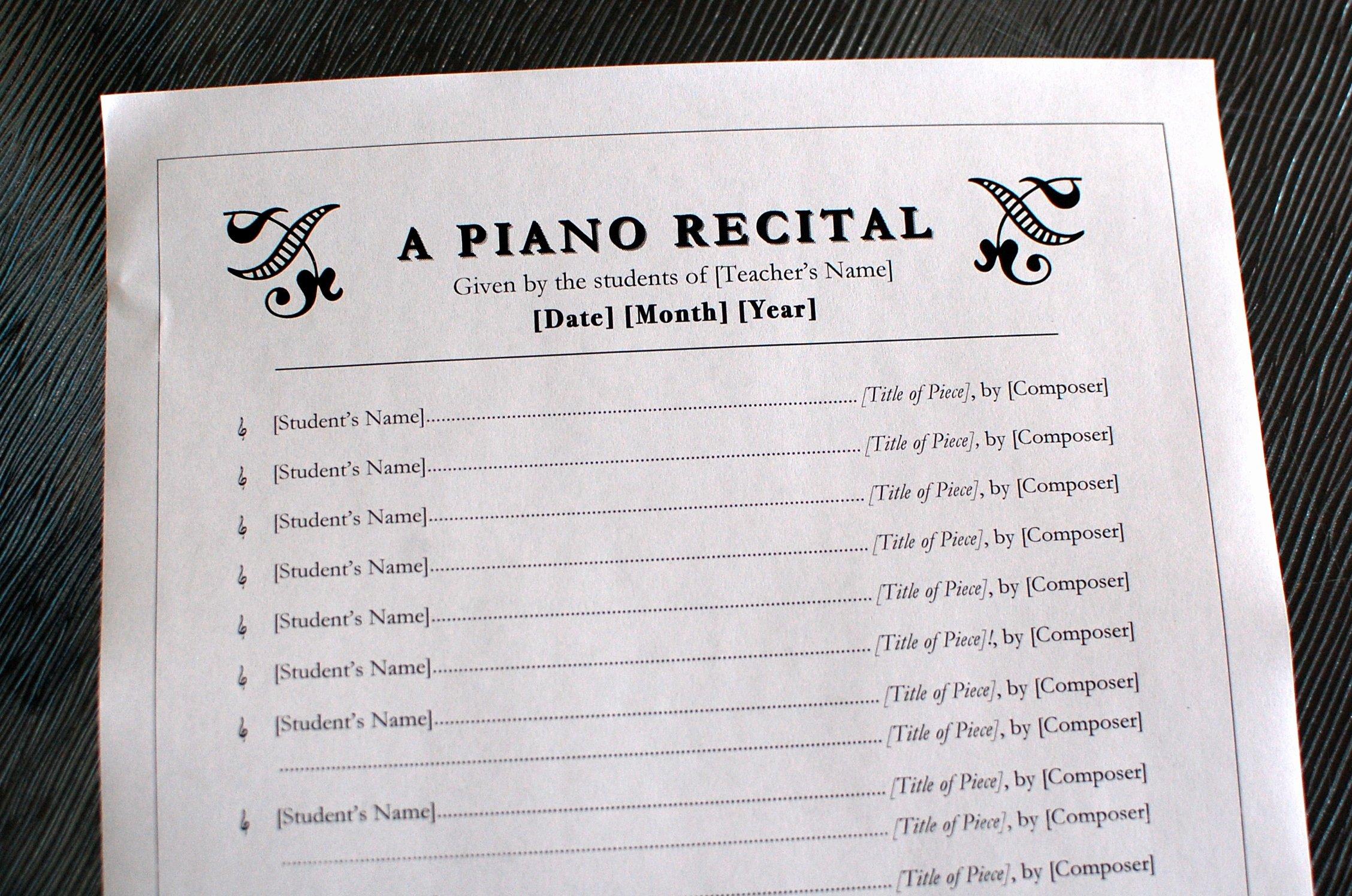 Concert Program Template Free Lovely Printables