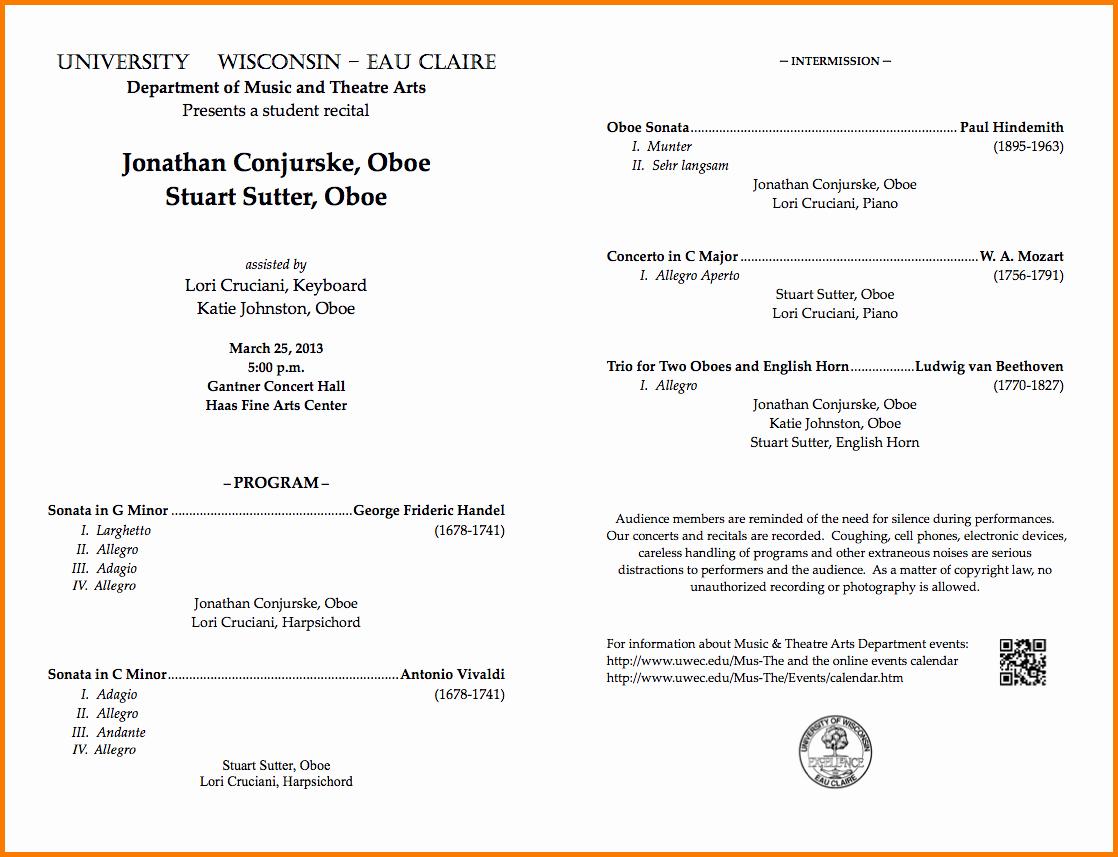 Concert Program Template Free Luxury Concert Program Template Beautiful Template Design Ideas