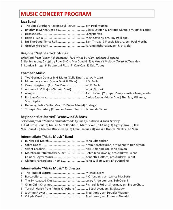 Concert Program Template Free Luxury Concert Program Template