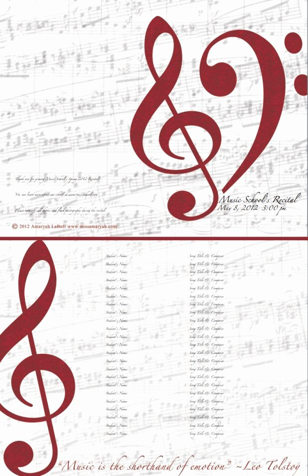 Concert Program Template Free Luxury Free Editable Recital Program Templates
