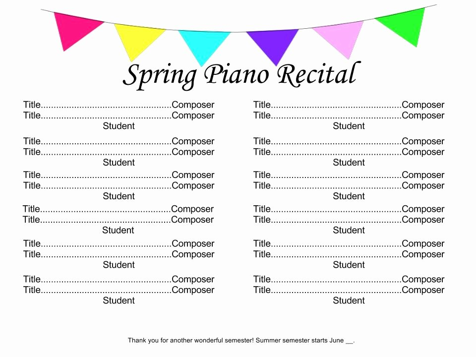 Concert Program Template Free Luxury Recital Time 4dpianoteaching