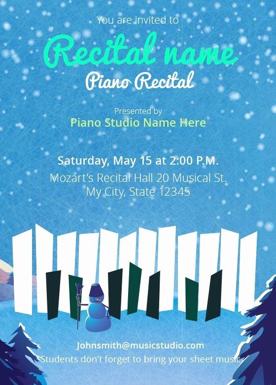 Concert Program Template Free Luxury Winter Piano Recital Invitations
