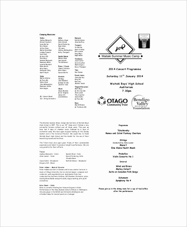Concert Program Template Free Unique 9 Sample Concert Programs – Pdf Psd Word Illustrator