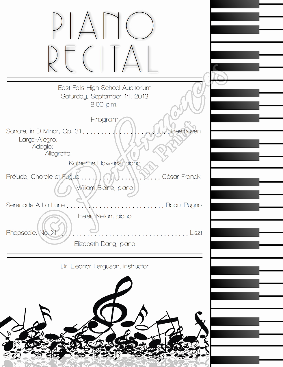 Concert Program Template Free Unique Piano Recital Concert Music Program