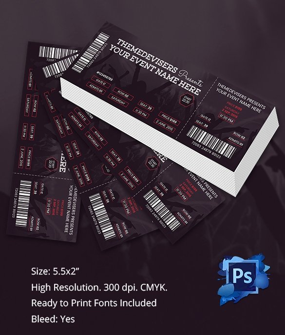 Concert Ticket Template Psd Inspirational Ticket Template – 91 Free Word Excel Pdf Psd Eps