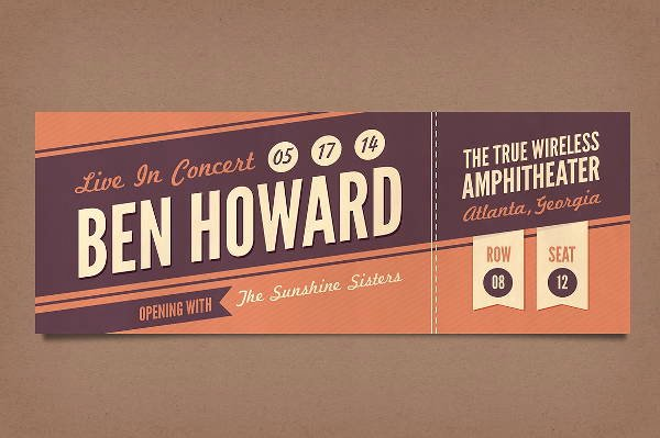 Concert Ticket Template Psd Lovely 12 Vintage Ticket Templates Psd Ai Word