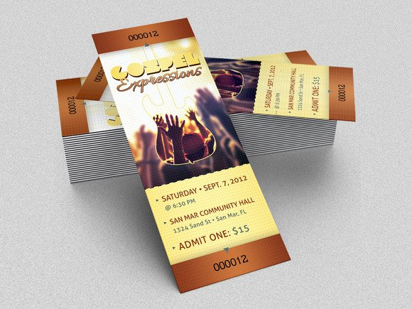 Concert Ticket Template Psd New Gospel Concert Ticket Template Templates On Creative Market