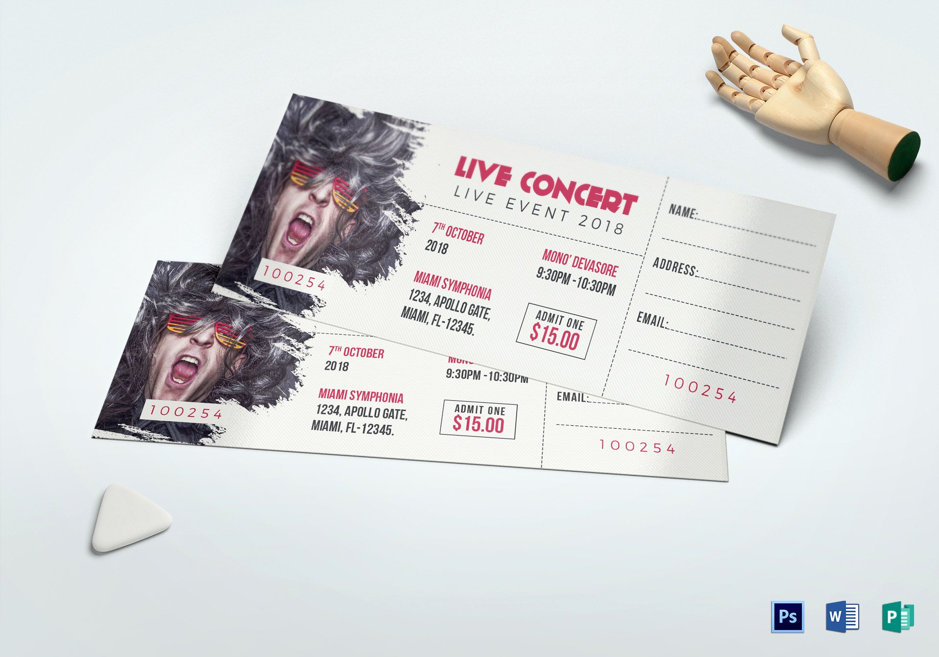 Concert Ticket Template Psd New Live Concert Ticket Design Template In Word Psd Pages