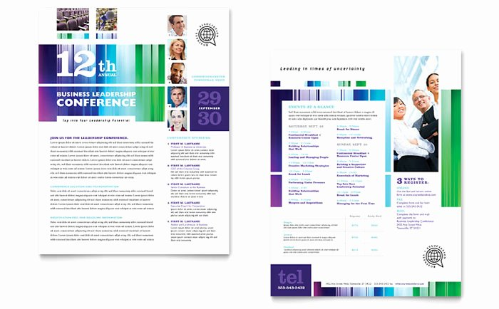 Conference Program Booklet Template Awesome Business Leadership Conference Datasheet Template Design