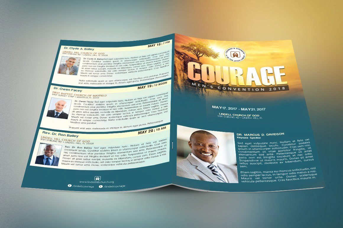 Conference Program Booklet Template Awesome Church Conference Program Cover Template Teal and Gold