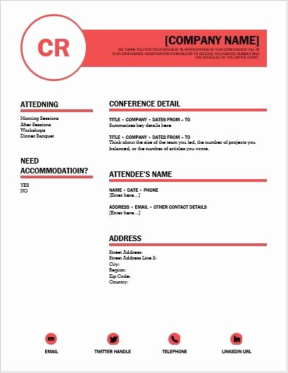 Conference Registration form Template Word Awesome Conference Registration form Template for Word