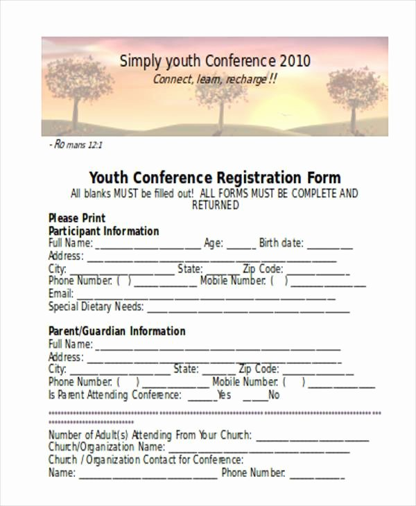 Conference Registration form Template Word Fresh Registration form Templates
