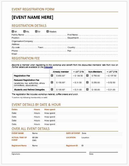 Conference Registration form Template Word Luxury event Registration forms & Template for Ms Word