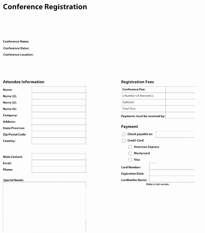 Conference Registration form Template Word Unique Registration Card Template Student Registration form