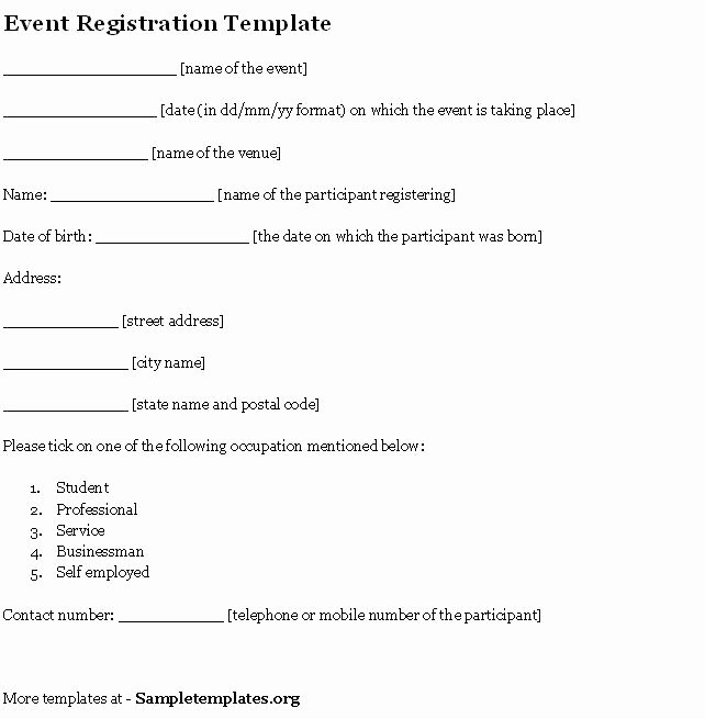 Conference Registration forms Template Awesome event Template for Registration Example Of event