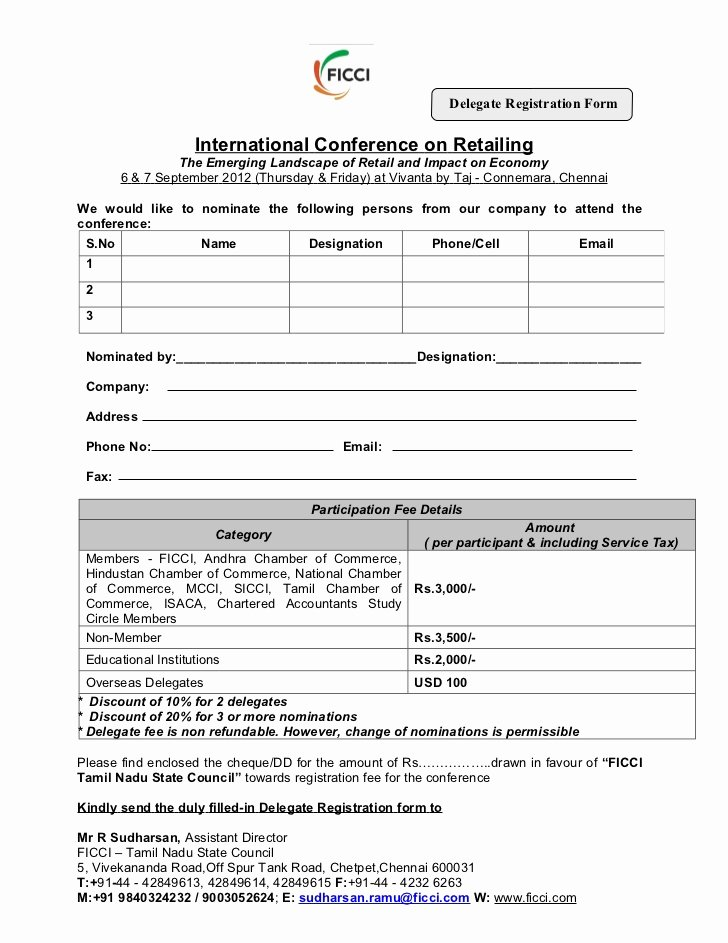 Conference Registration forms Template Beautiful Registration form Of International Conference On Retailing