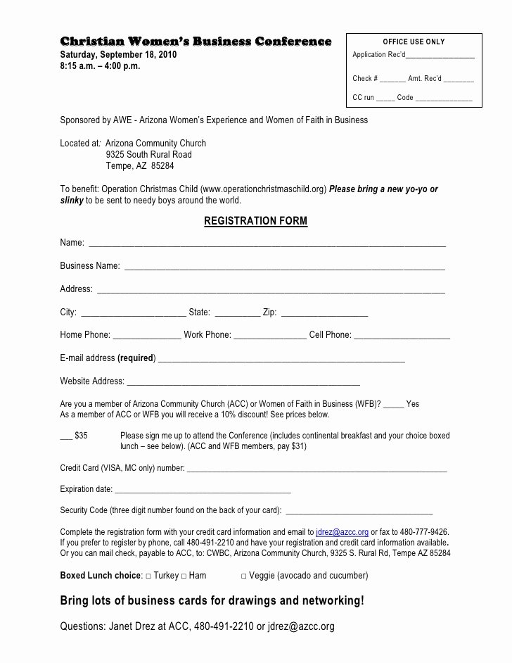 Conference Registration forms Template Inspirational Christian Womens Business Conference Registration form