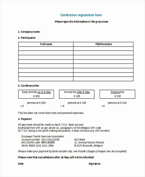 Conference Registration forms Template Lovely Registration form Templates