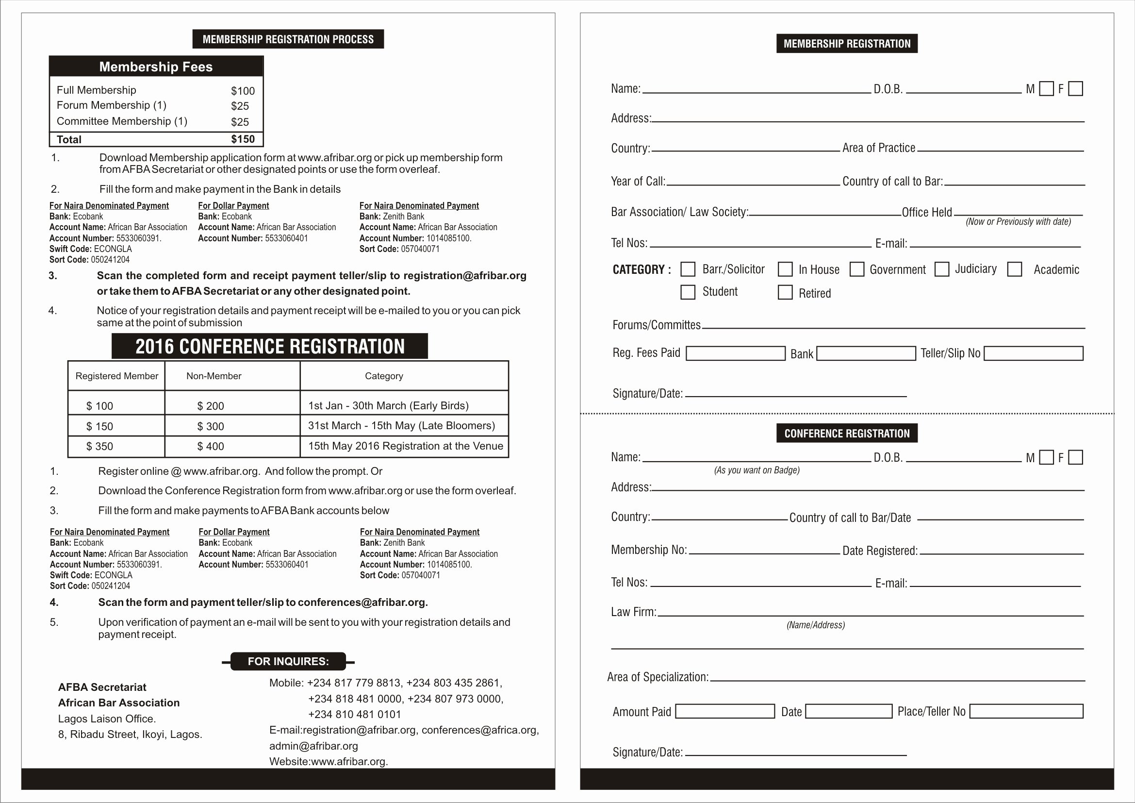 Conference Registration forms Template New form Conference Registration form