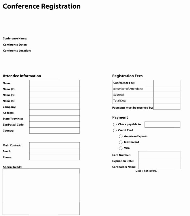 Conference Registration forms Template New Pdf Templates Construction Template Store