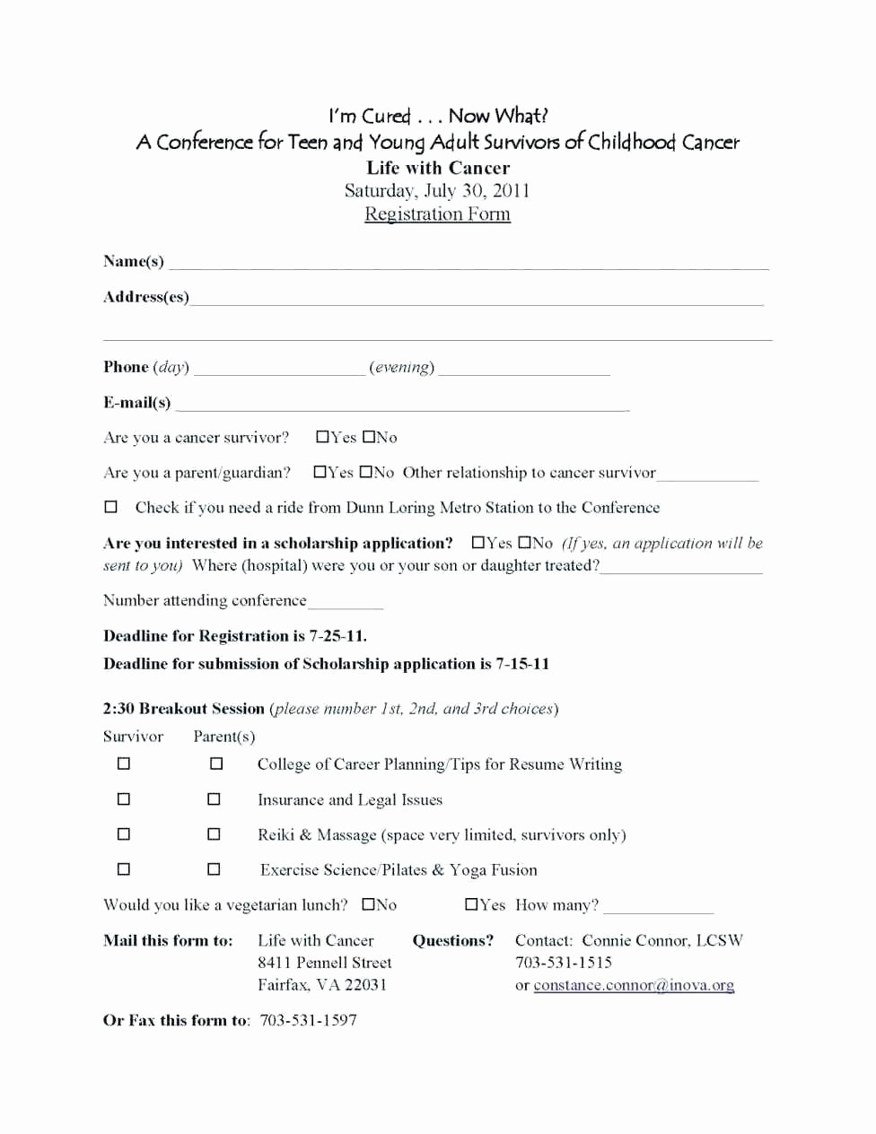 Conference Registration forms Template Unique College Application form Template