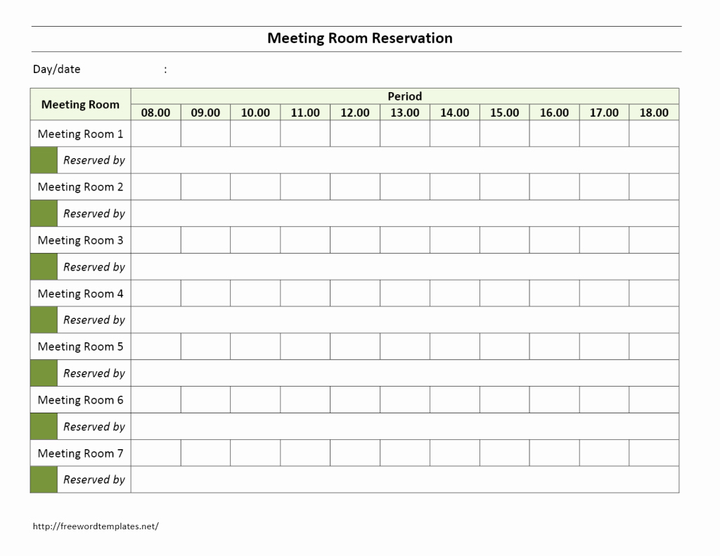 Conference Room Scheduling Template New Meeting Room Reservation form