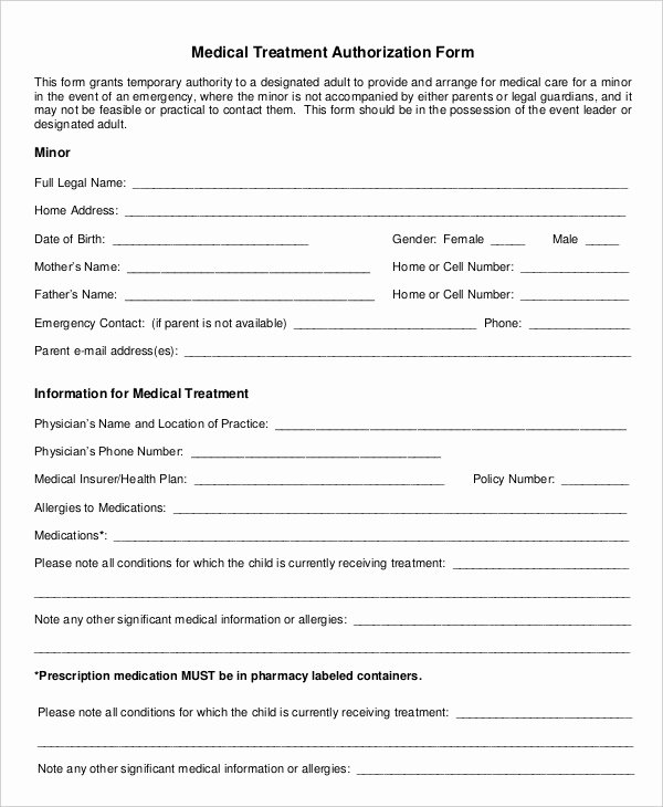 Consent to Treat form Template Awesome 10 Printable Medical Authorization forms Pdf Doc