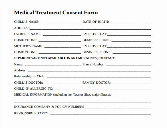 Consent to Treat form Template Awesome 9 Child Medical Consent forms – Samples Examples & formats