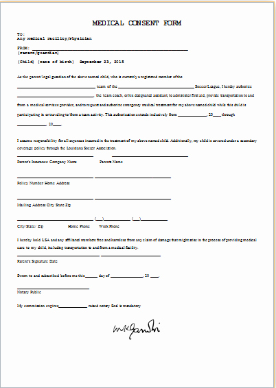 Consent to Treat form Template Awesome Medical Consent form Template Ms Word