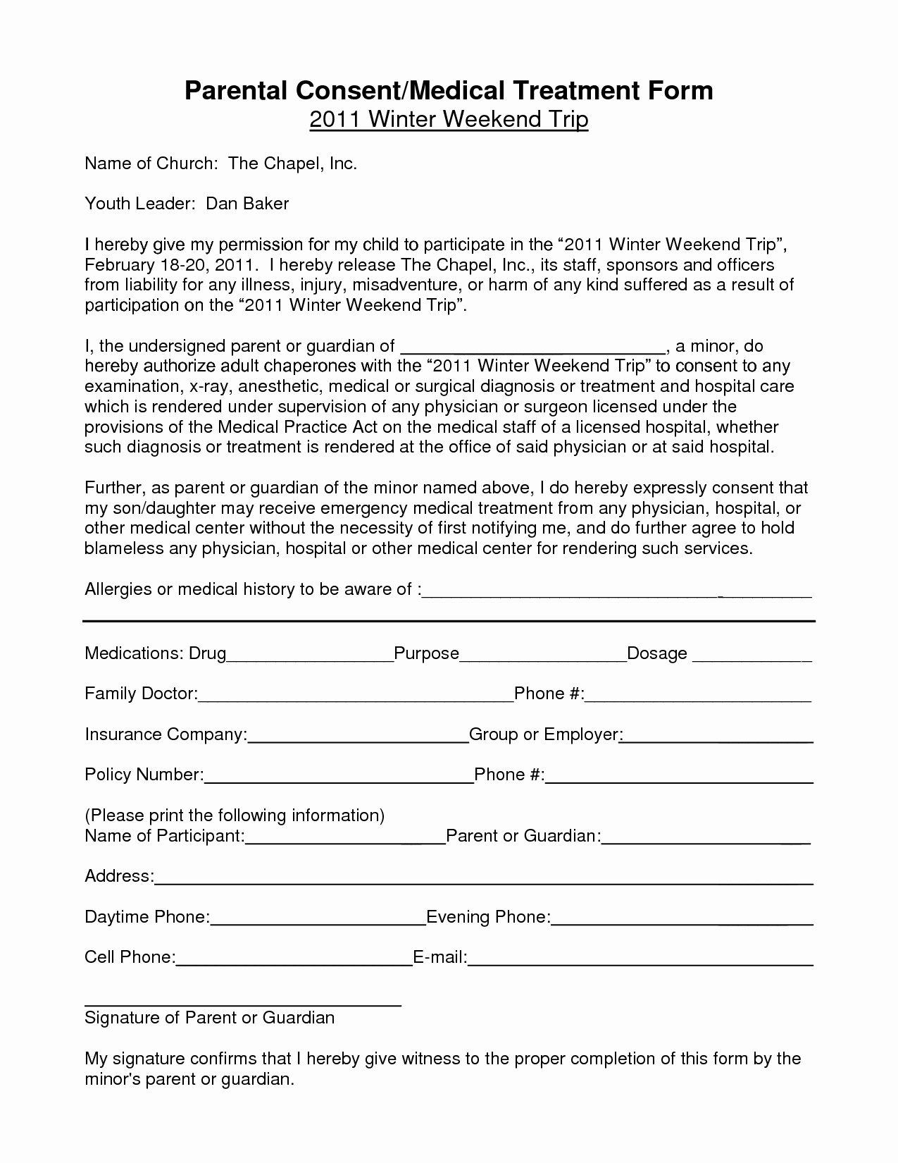Consent to Treat form Template Awesome Notarized Medical Consent form for Minor